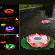 Solar Powered Lotus Flower Light Outdoor Yard Pool LED Landscape float Lamps