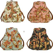 US Vintage Lady Canvas Travel Rucksack Hobo School Bag Satchel Bookbags Backpack