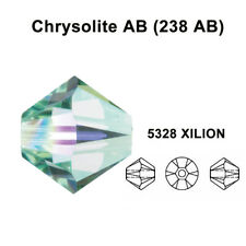 4mm Chrysolite AB (238 AB) Swarovski crystal 5328 / 5301 Loose Bicone Beads