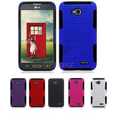 For LG Optimus L70 Realm LS620 Dual Layer APEX Hybrid Net Mesh Case Cover