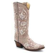 CORRAL Womens Brown Beige White Floral Embroidery Leather Cowboy Boots G1086 NIB