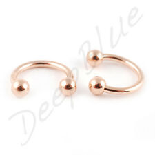 HORSESHOE  PVD ROSE GOLD with 3mm  BALLS Choose Size EAR NOSE Eyebrow Bar