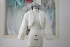 Faux Fur ivory Bridal Wrap Long Sleeve Coat Jacket Artificial Shawl Cape Stole