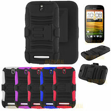 3IN1 RUGGED HARD SKIN CASE & BELT CLIP HOLSTER COVER FOR HTC ONE SV LTE + SCREEN