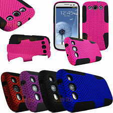 For Samsung Galaxy S III 3 S3 I9300 APEX Hybrid Net Mesh Case Cover + Screen