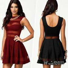 Sexy Women  Bandage Bodycon Sheer Mesh Patchwork Club Party Pleated Mini Dress