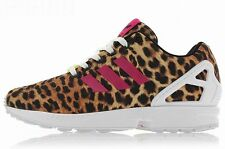 ADIDAS WOMENS ZX FLUX Black-Pink leopard print running training sneakers new