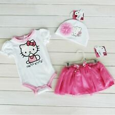 Baby Girls Hello Kitty 3 Piece SET *Bodysuit+ Hat +Skirt* 6-24 months Size 0/1/2