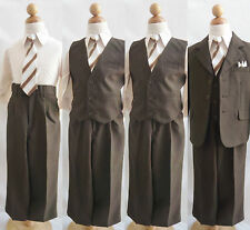 Well tailored Boy Toddler Teen dark brown formal suit graduation wwedding party