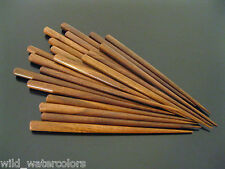 100 Rosewood Wood Crafters Hair Sticks Dark Stain Hand Made Carved Natural Style
