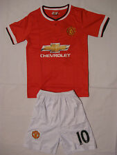 KIDS #10 ROONEY MANCHESTER UNITED SOCCER JERSEY & SHORT YOUTH SIZE HOME13/14