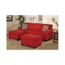Chaise Sofa RED Couch Sectional Living Room Loveseat Chair Microfiber Reversible