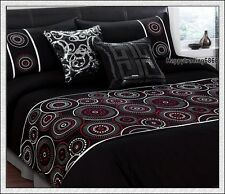 280TC Black White Red Circle Embroidery * KING QUEEN 3pc QUILT DOONA COVER SET
