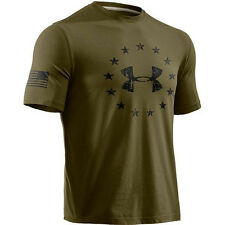 UA UNDER ARMOUR 1233769-370 MEN'S FREEDOM T-SHIRT CHARGED COTTON MAJOR GREEN NWT