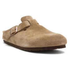 Women's Birkenstock Clogs Boston Taupe Suede Narrow