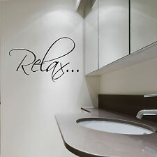 "Bath Tub ""RELAX"" - Bathroom Vinyl Wall Quote Decals"