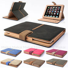 Suede Leather Smart Flip Case Cover for Apple iPad 4 3 2 + Shield + Stylus