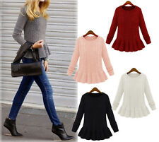 Fashion Womens Retro Crewneck Flouncing Peplum Sweaters Knitwear Pullover MUK