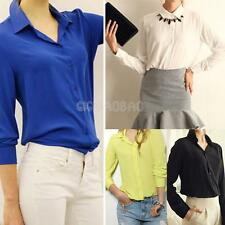Fashion Ladies Women's Slim Tops Long Sleeve Button Down Shirt Casual Blouse