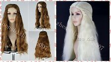 Game of Thrones Daenerys Targaryen dragon Long ladies wavy blonde full Wigs +cap