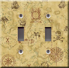 Light Switch Plate Cover - Pirate map direction - Kids boat adventure treasure