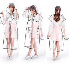 WOMENS CLEAR TRANSPARENT THICKENED RAINCOAT PVC RAIN COAT JACKET HOT SELL