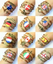 NEW Special Fashion Charms Personalized Jewelry Leather national flag Bracelets