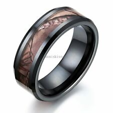 8mm Ceramic Ring Hunting Camo Design Anniversary Wedding Band Men's Ring