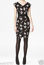 NEW Ex FCUK French Connection Black & White Floral Dress Size 10 12 14 16