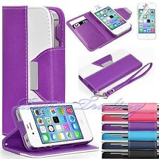 Flip Hybrid PU Leather Wallet Case Stand Cover For Apple iPhone 4 4S + Free Film