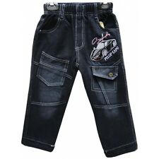 Boys Warm Black Elasticated Jeans, Kids  Clothing Ages 1-6 years