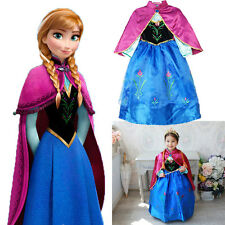Kids Girls Dresses Elsa Anna Frozen Costume Princess Anna Party Dress Skirt
