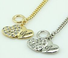 2014 New Korean Style Two Heart Letter Fashion Crystal Necklace 2 Colour A0013