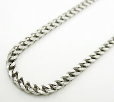 """30-36"""" Inch 2.5mm 14k White Solid Real Gold Franco Box Cuban Chain Necklace Mens"""