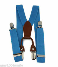 Toddler Lake Blue Suspenders Fits Ages 2 - 5 Years -  2T 3T 4T 5T