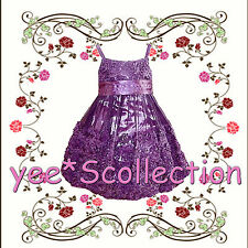New Purple Rose Flower Girl Wedding Pageant Party Formal Dress Size 2T to 12y
