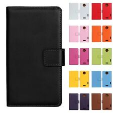 Fashion Genuine Real Leather Flip Case Card Holder Wallet Cover for HTC ONE X