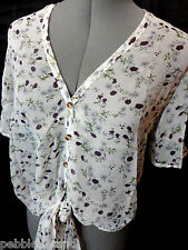 Nwt SOLARIS Chiffon Floral tab sleeve Top womens S White Purple Tie front Sheer