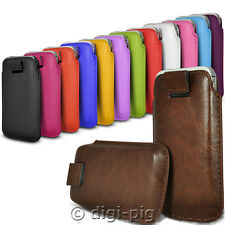 COLOUR (PU) LEATHER PULL TAB POUCH CASES FOR LATEST RANGE OF MOBILE PHONES