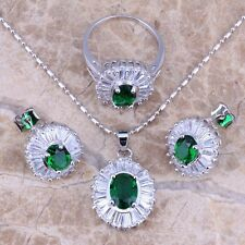 Rare Green Emerald Topaz Silver Jewelry Sets Earrings Pendant Ring S0117