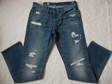 ABERCROMBIE & FITCH JEANS MENS SKINNY DESTROYED SIZE 32X30 BUTTON  FLY NEW NWT