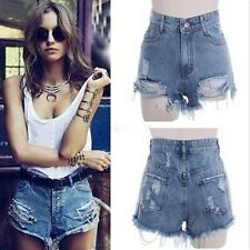 Sexy Womens Vintage Ripped Broken Hole High Waist Jeans Denim Shorts Hot Pants