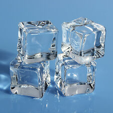 16pc Artificial Acrylic Ice Cubes Crystal Clear Square Wedding Display 1/1.5/2cm