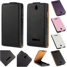 Luxury Genuine Leather Flip Case Skin Cover Pouch for Sony Xperia E Dual C1605
