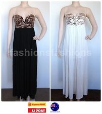Women Sexy Party Cocktail Studs Black White Evening Maxi Dress Gown SZ 8 10 12