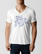 True Religion Jeans Men's True Swank V-Neck T-shirt White MS4A301IZ6