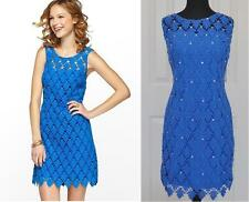 Clearance!! NEW $378 Lilly Pulitzer Shiloh Blue Lace Shift Dress Cotton 0 2 XS S