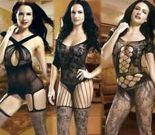 Sexy Exotic Lady Crotchless Fish Net Body Stocking Bodysuit Lingerie Teddy Sheer