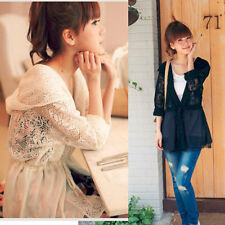 Fashion Long Sleeve Lace Hollow Hoodie Cardigan Coat Outdoor Blouses 2 Colors