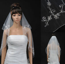 2T White/Ivory Pearl Pencil Edge Elbow Length Wedding Bridal Veil w/Comb